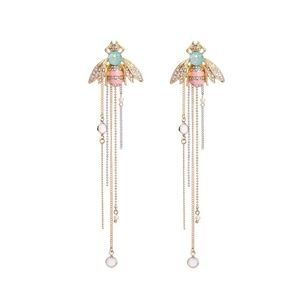 Jigdaliag Jewelry - Enamel Bee Crystal & Rhinestone Gold Drop Earrings